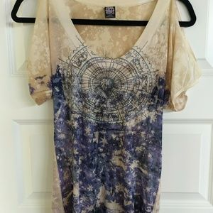 Free People Cold Shoulder Tee Size M